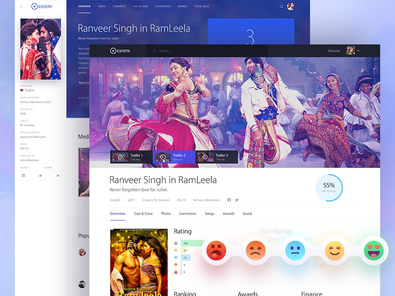 Cinimi: A movie pages details redesign map illustrations blue clean design bollywood page detail movie