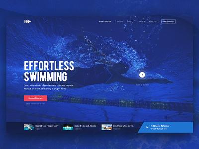 Hero Image - Swimming (freebie) homepage page landing blue swimming clean image hero free