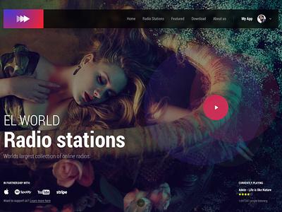 Hero Image (freebie) - Radio radio live logo menu effect homepage page landing gif animation colorful hero