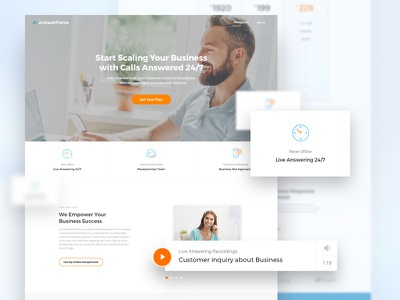 Answerforce - Landing Page services ux ui homepage test demo comparison testimonials clean page landing