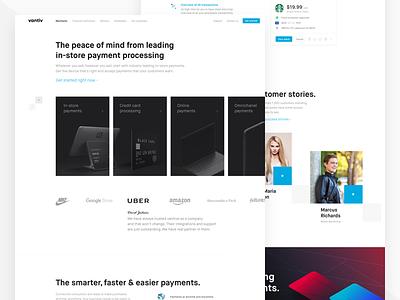 Redesigning vantiv landing page vantiv testimonials white black simple clean transaction web website page landing redesign