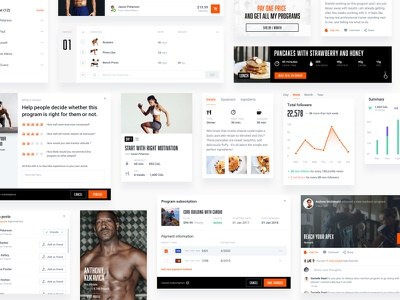 Fitness portal cards checkout ux kit ui clean programs stats newsfeed feed cards portal fitness