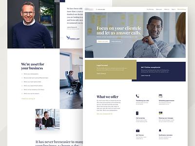 Answering Service Landing homepage clean testimonials blue icons dark gold ux ui landing page