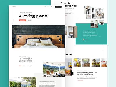 Premium houses orange green interface homes ux ui website clean homepage landingpage