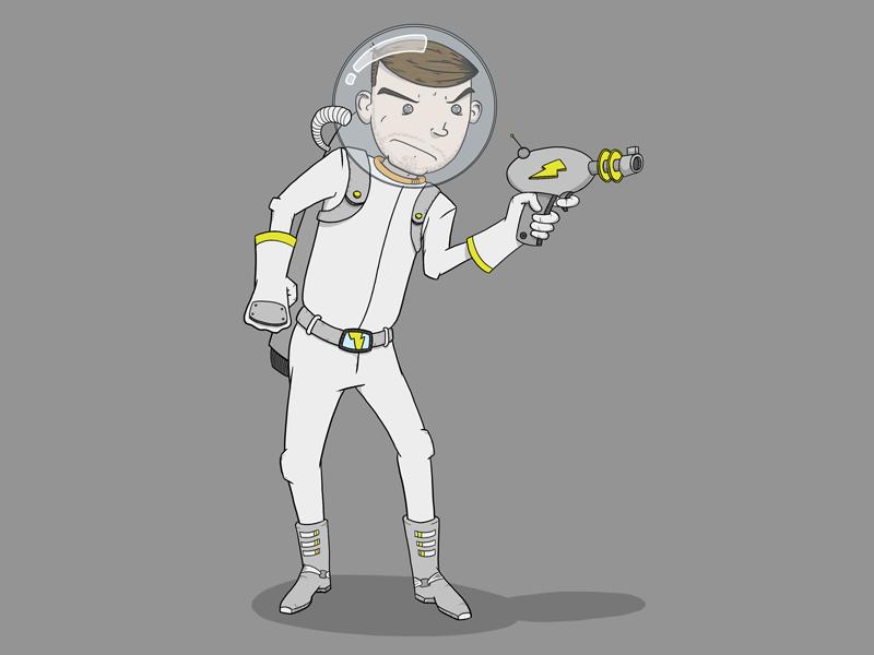 """Ike """"Lazer"""" Beem astronaut space suit spaceman laser gun helmet boots retro"""