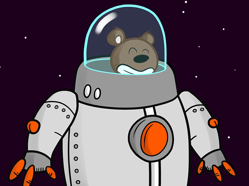 Bearing Down on the Moon bear moon space robot