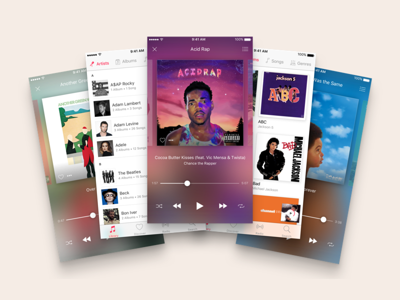 Apple Music Redesign (WIP) apple music music playlist songs artist album ios player