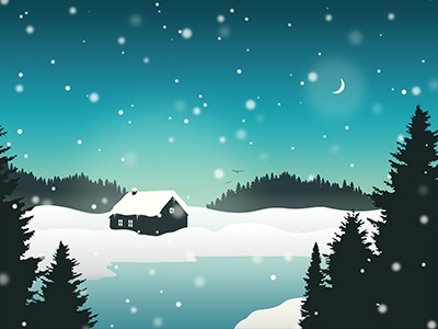 Winter Landscape Constructor Example 1 christmas snow night trees landscape winter
