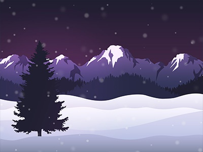 Winter Landscape Constructor Example 2 snow mountains tree landscape winter