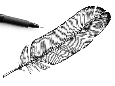 Handdrawnthings black and white dotwork pencil drawing feather hand drawn handdrawn