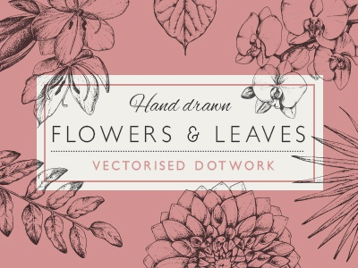 Dotwork Flowers And Leaves vector creative market art hand drawn tattoo ink illustration leaf flower dotwork blackwork
