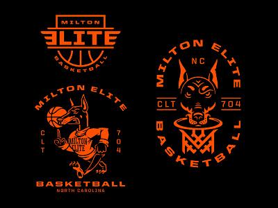 Milton Elite Basketball t-shirt logo badge sports branding branding design mascot illustration