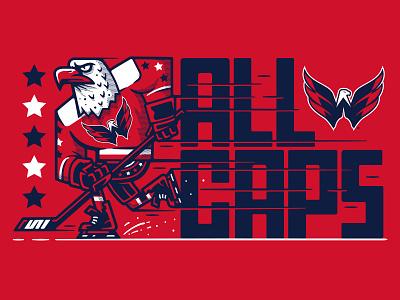 ALL CAPS hockey character mascot design illustration