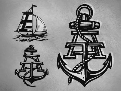 Amongst Friends nautical illustration logos