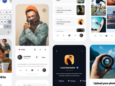 Pexels App Redesign cards profile search notifications free stock footage photographer photography user experience design user interface design light ui ux design mobile app concept iphone redesign mobile clean minimal ios app