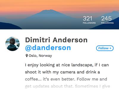 Daily Ui  #006 - User Profile card profile user