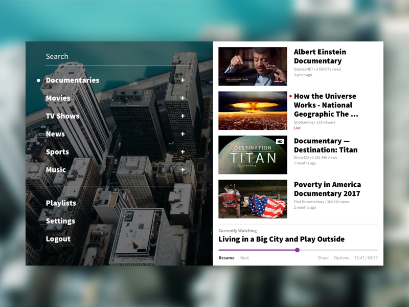 Daily Ui #025 - Tv App documentary app streaming movies tv