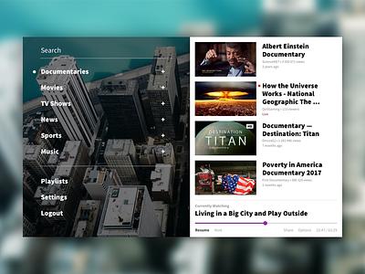 Daily Ui #025 - Tv App documentary app streaming movies tv