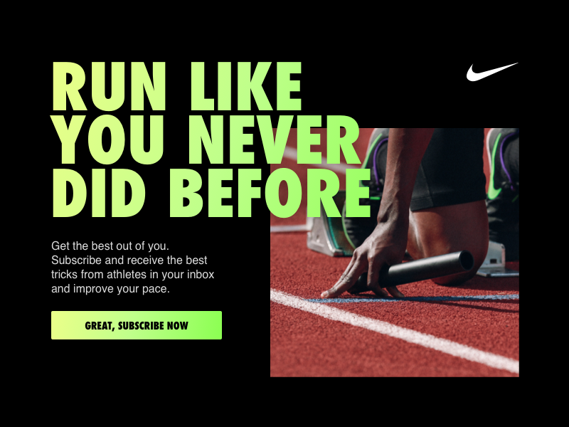 Daily Ui #026 - Subscribe newsletter email nike sports run