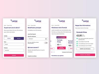 Health insurance website funnel website ui form mobile