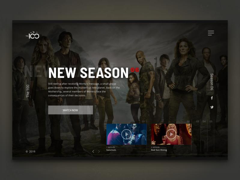 The 100 (TV series) website ui figma design series film movie ui  ux webdesign ux design