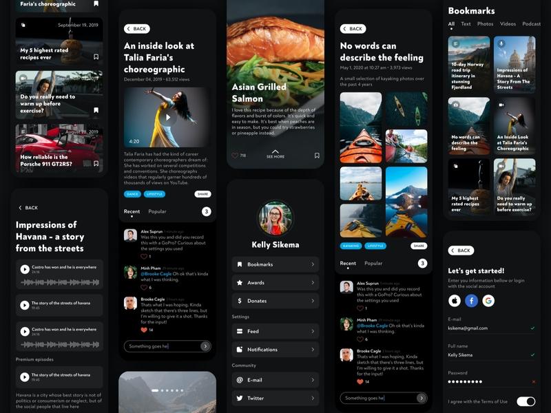 Personal Blog & Online Newspaper cards social blog post blogger newspaper newsfeed news portal news personal blog mobile design ios feed blog ui ux mobile flat design app