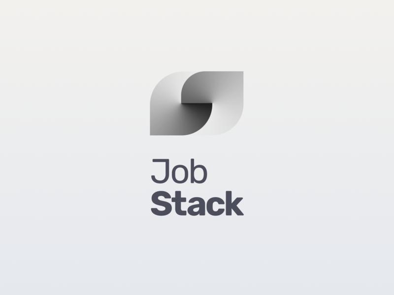 JobStack Logo logos gray job application gradient branding concept logotype visual design mobile apps logo design branding design flutter mobile app design mobile app brand identity brand design brand logo branding