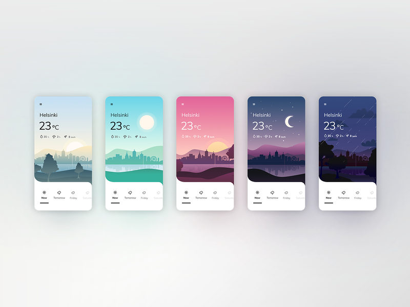 Weather mobile app with a parallax scrolling landscape city app concept color palette app design weather icon moon night day sunset ui design curvy mobile app skyline illustration parallax landscape weather weather app colorful app