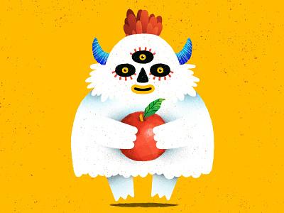 fluffy monster! cute yeti apple fluffy creature monsters monster animals digital illustration character design illustration
