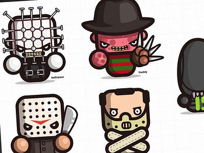 'simple dark' series is growing.. stickers illustrator vector horror freddy krueger alien hannibal jason hellraiser fanarts simple kirpluk