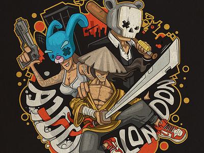 A100 London illustration skull bunny gun london gang nike mask art design character cartoon funky illustration kirpluk vector