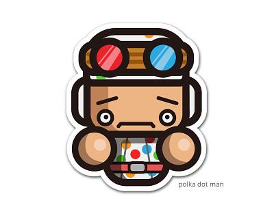 simple polkaDot man graphic design ui branding character design funky logo illustration simple fanart kirpluk vector