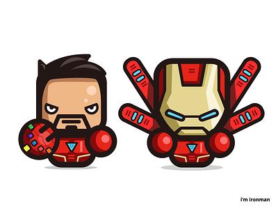 i'm ironman avengers cartoon character design art marvel illustration simple fanart vector