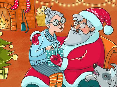 Happy Xmas old lady people gifts santa claus xmas christmas emotion sticker flat 2d natimade