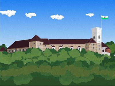 Castle illustration ljubljana vector 2d app castle flat icon natimade