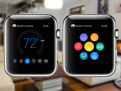 Connected Home Apple Watch Concept design apple watch app ui ux icon mobile interface home temperature dial