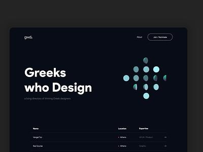 Greeks who Design product design minimal greek dark animation dark mode web interface ui 2020 design