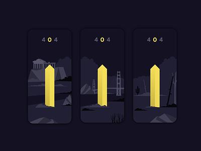 404 Monolith concept dark black blue pantone yellow mobile app not found 404 metal monolith 2020 design ui illustration