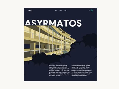 Asyrmatos building minimal design ui 2020 typography yellow flyer poster square