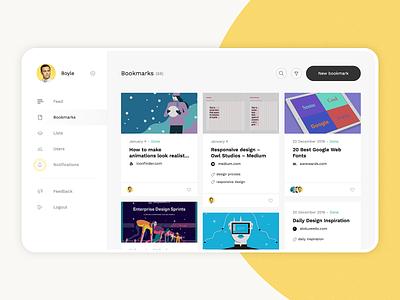 Bookmarking Application website 2019 minimal interface ux ui web sidebar cards design app
