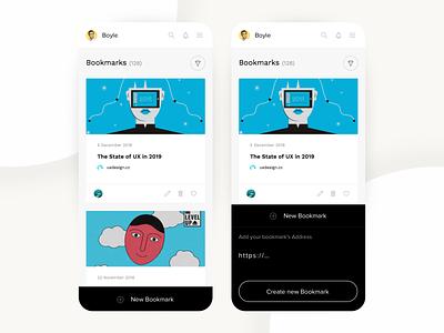Bookmarking App minimal application cards black  white ux ui app design 2019