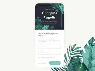 Wedding invitation Application nature natural website design website web interface ux ui minimal design 2019 invitation wedding