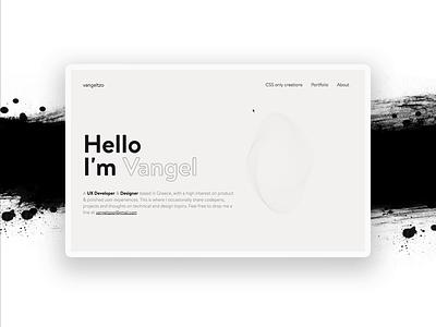 Portfolio with ink effect transition ink black  white minimal interface ux ui web design animation design 2019