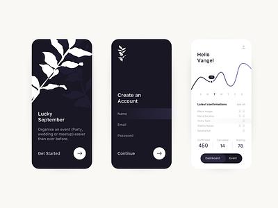 Event planning App app application black  white ux ui minimal design 2019