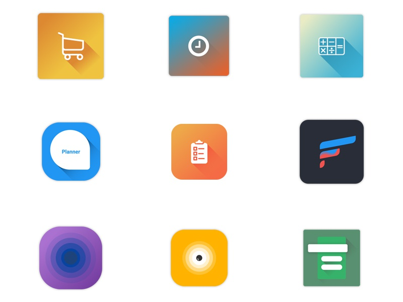 Bunch of mobile app icons material flat icon mobile