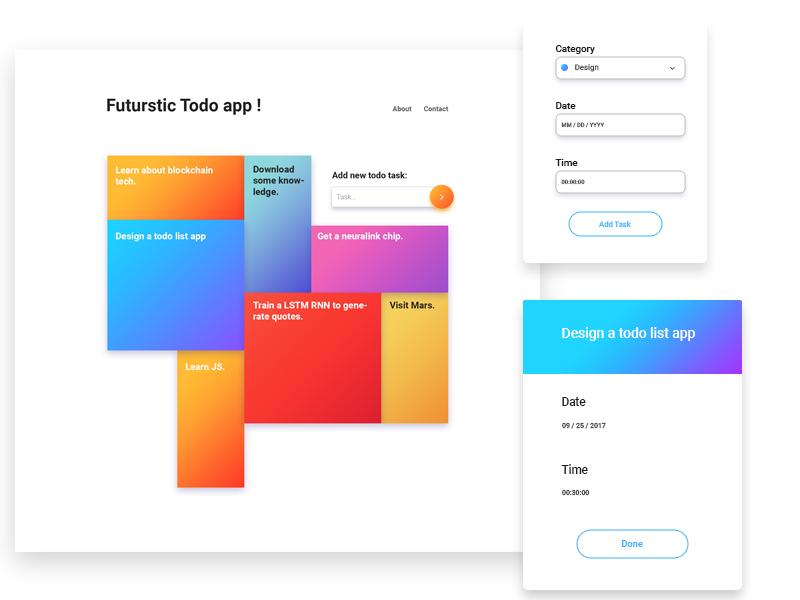 Daily UI 22 pug sass grid code design ui app todo