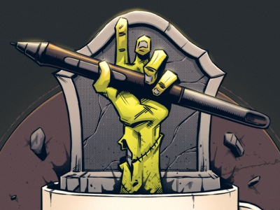 Time to Kick A$$ 🧟♂️☕️ gravestone cartoon fun comic dark cup coffee stylus wacom undead zombie digital art graphic design artwork art graphic photoshop design texture illustration