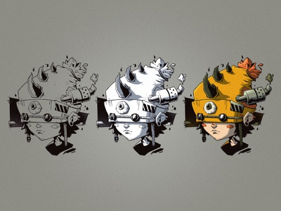 Battle Hats 2.0 👁 process drawing horns goggles beanie battle hats character design character dystopian sci-fi digital art graphic design artwork photoshop graphic art design texture illustration