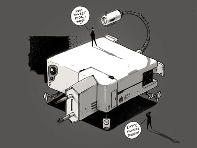 MagSafe Mecha 🤖 funny cartoon comic robot mechanical magsafe apple mecha mech sci-fi digital art graphic design artwork photoshop graphic art design texture illustration