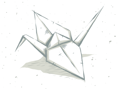 """Crane WIP"" photoshop sneakpeek teaser wip drawing illustration texture origami paper crane"